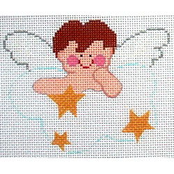 click here to view larger image of Brown Hair Boy Angel (hand painted canvases)