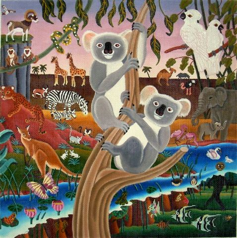 click here to view larger image of Koalas & Friends (hand painted canvases)