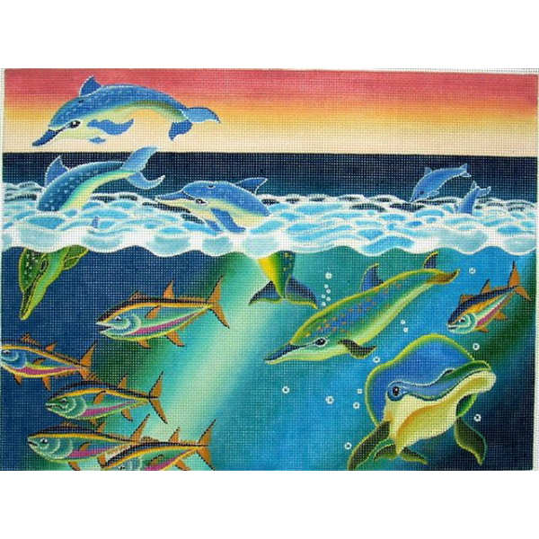 click here to view larger image of Dolphins/Fish (hand painted canvases)