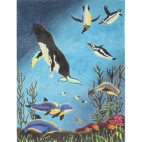 click here to view larger image of Dolphins, Penguins, Whales (hand painted canvases)