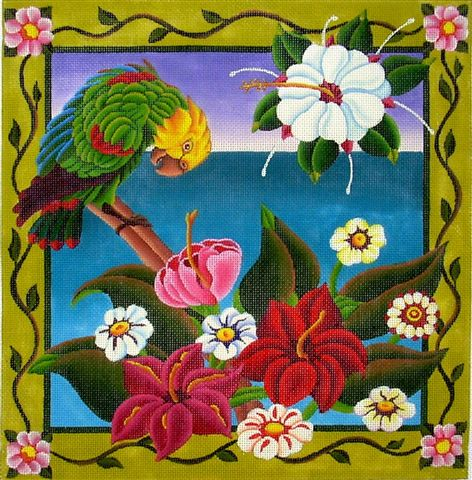 click here to view larger image of Tropical Flowers (hand painted canvases)