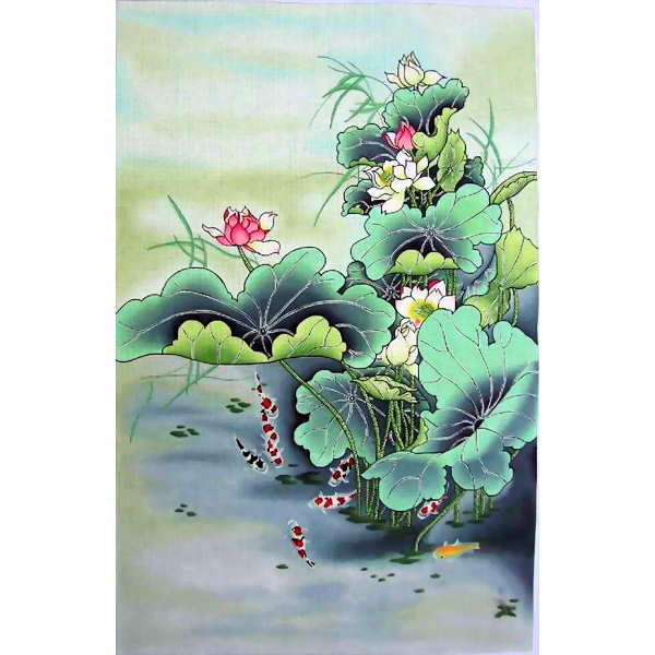 click here to view larger image of Lotus & Koi (hand painted canvases)