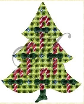 click here to view larger image of Candy Canes on a Chartreuse Tree (hand painted canvases)