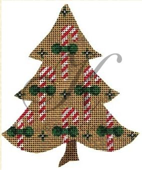 click here to view larger image of Candy Canes on a Tree (hand painted canvases)