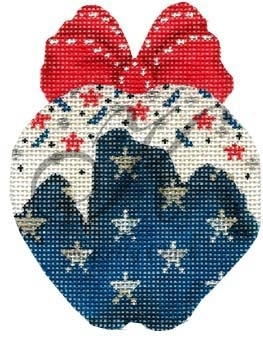 click here to view larger image of Navy Stars-n-Sprinkles  Apple (hand painted canvases)