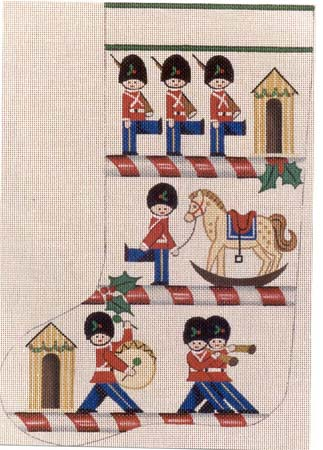 click here to view larger image of Toy Soldier Stocking (hand painted canvases)