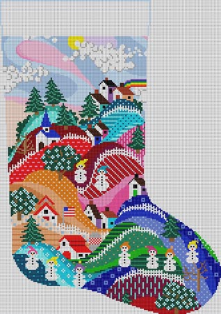 click here to view larger image of Winter Scene Stocking (hand painted canvases)