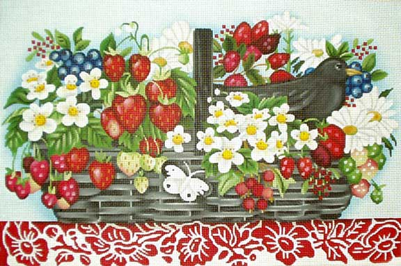 click here to view larger image of Berry Basket (hand painted canvases)