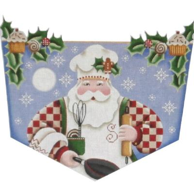 click here to view larger image of Baking Santa Stocking Cuff  - 13ct (hand painted canvases)