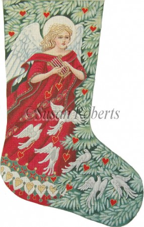 click here to view larger image of Angel With Doves Stocking - 18ct (hand painted canvases)