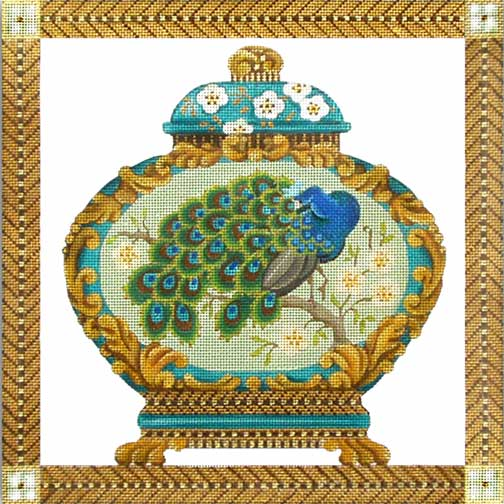 click here to view larger image of Peacock Ginger Jar (hand painted canvases)
