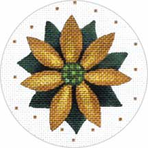 click here to view larger image of Gold Poinsettia Ornament (hand painted canvases)