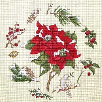 click here to view larger image of Poinsettia (hand painted canvases)