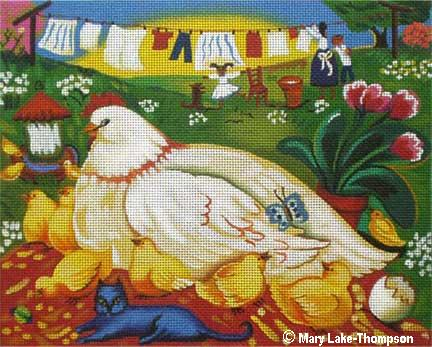click here to view larger image of Chickens by the Clothesline (hand painted canvases)