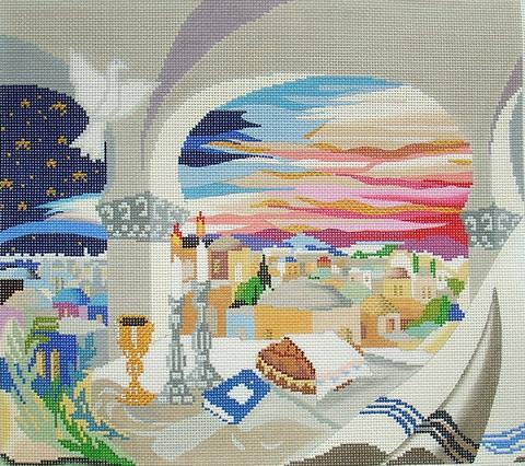 click here to view larger image of Shabbat Evening Taleis Bag (hand painted canvases)