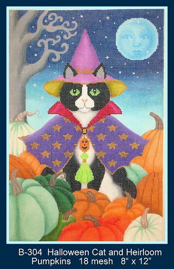 click here to view larger image of Black Cat w/ Heirloom Pumpkins (hand painted canvases)