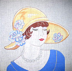 click here to view larger image of Brunette With Floral Hat (hand painted canvases)