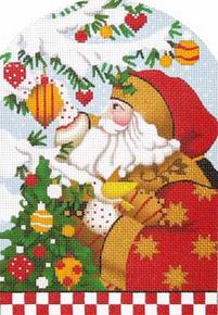click here to view larger image of Golden Star Santa Standup (hand painted canvases)