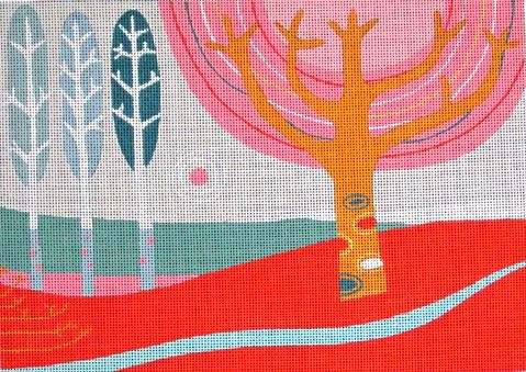 click here to view larger image of Red Landscape (hand painted canvases)