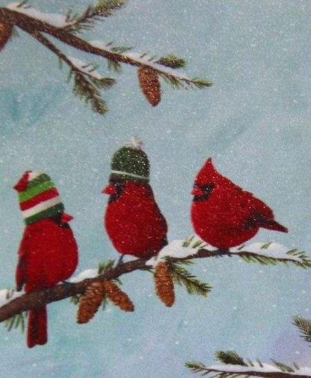click here to view larger image of Red Birds on Branch II (hand painted canvases)