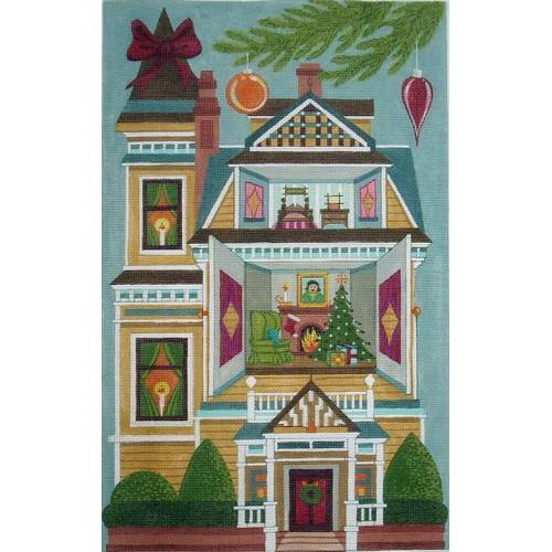 click here to view larger image of Christmas Doll House - 18ct (hand painted canvases)