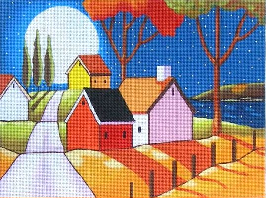 click here to view larger image of Moon Over Roadway (hand painted canvases)