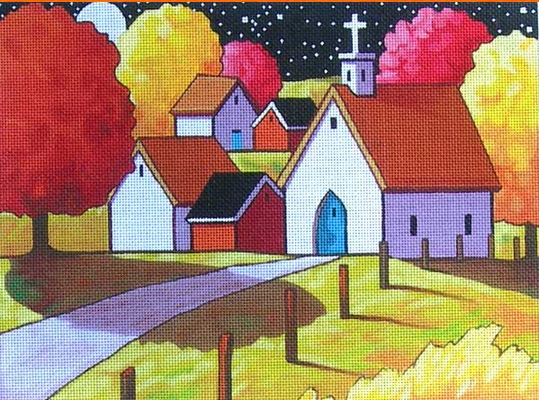 click here to view larger image of Church Night Path (hand painted canvases)