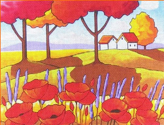click here to view larger image of Poppies and Lavender (hand painted canvases)