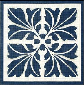 click here to view larger image of Blue Leaf Quilt (hand painted canvases)