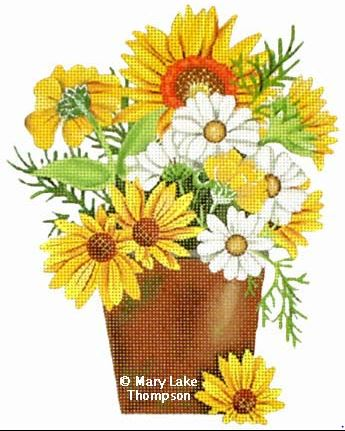 click here to view larger image of Daisies (hand painted canvases)