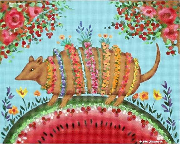 click here to view larger image of Bloomin Armadillo (hand painted canvases)