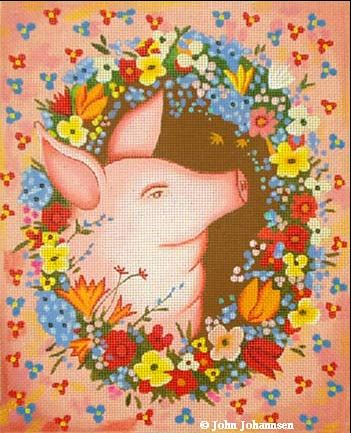 click here to view larger image of Beautiful Pig (hand painted canvases)