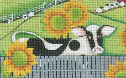 click here to view larger image of Holstein and Sunflowers (hand painted canvases)