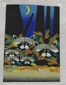 click here to view larger image of Raccoons (hand painted canvases)