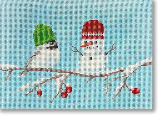 click here to view larger image of Chickadee's Snowman (hand painted canvases)