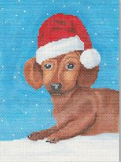 click here to view larger image of Christmas Dachshund (hand painted canvases)