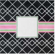 click here to view larger image of Black and White with Pink Ribbon Pillow (hand painted canvases)