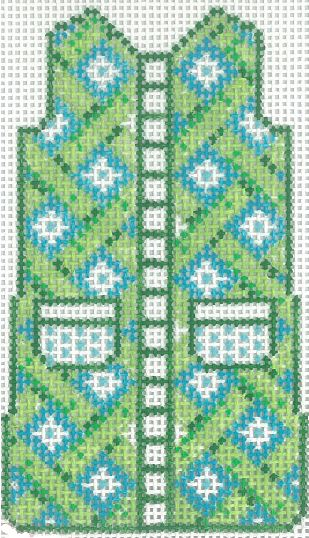 click here to view larger image of Green Lattice Mini Shift - 14M (hand painted canvases)