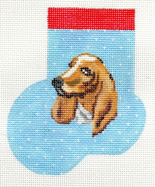 click here to view larger image of Basset Hound Mini Sock (hand painted canvases)