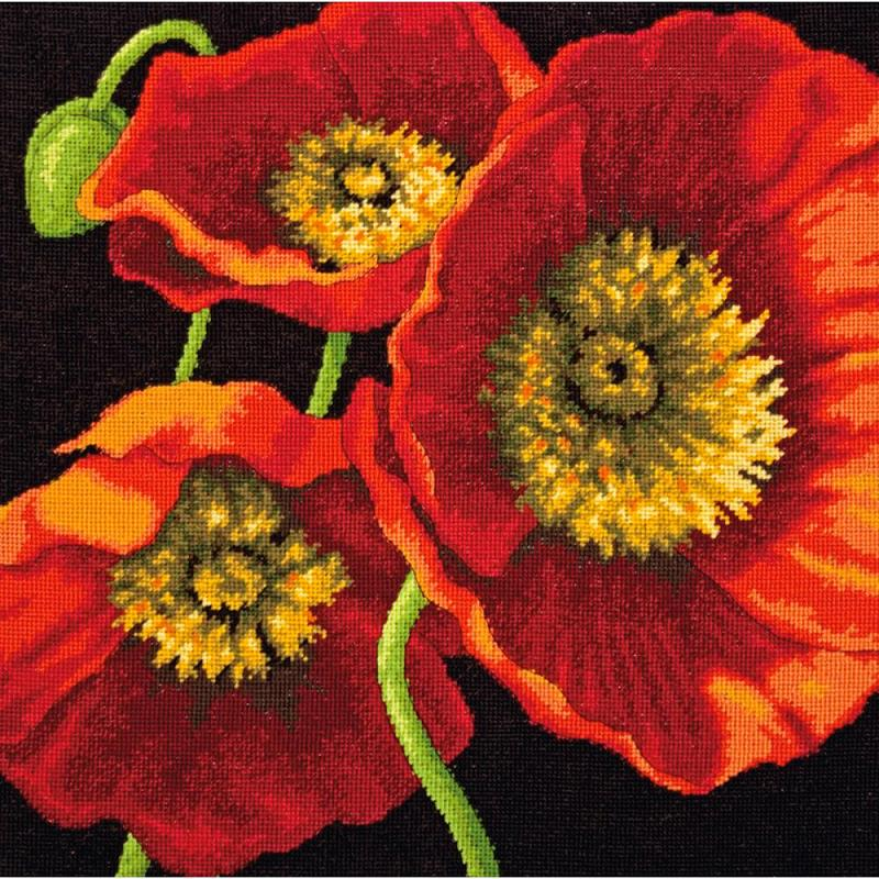 click here to view larger image of Red Poppy Trio (needlepoint kits)