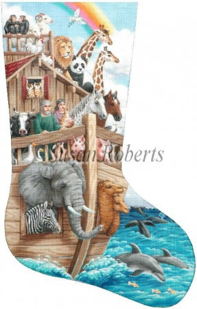 click here to view larger image of Noah's Ark Stocking (hand painted canvases)