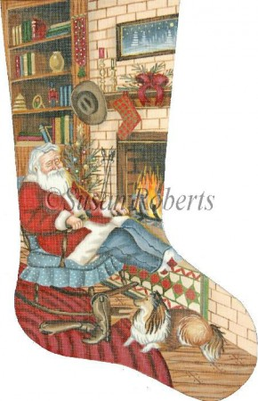 click here to view larger image of Cowboy Santa Stocking (hand painted canvases)