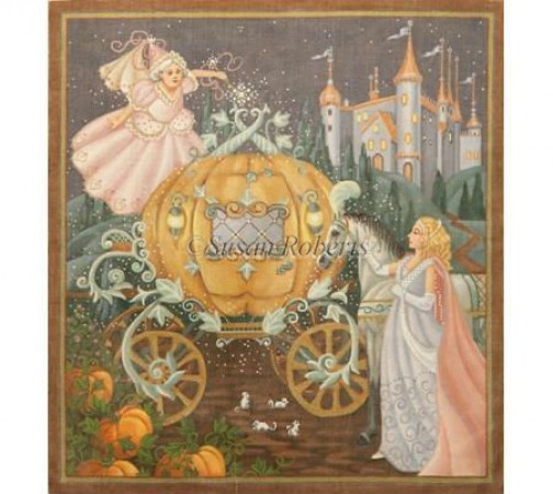 click here to view larger image of Cinderella Pillow (hand painted canvases)
