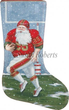 click here to view larger image of Football Santa - 13 Mesh (hand painted canvases)