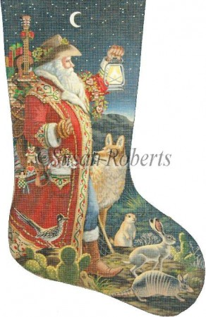 click here to view larger image of Southern Santa Stocking - 13ct (hand painted canvases)