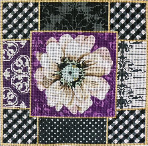 click here to view larger image of Black and Purple Collage (hand painted canvases)