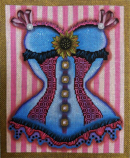 click here to view larger image of Purple Corset (hand painted canvases)