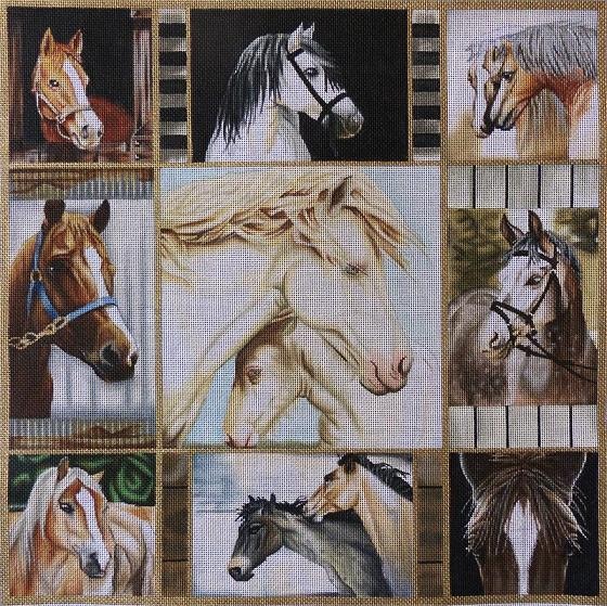 click here to view larger image of Horse Collage (hand painted canvases)