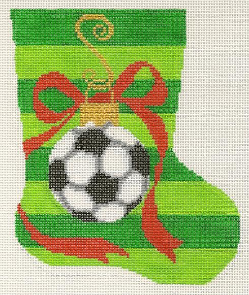 click here to view larger image of Mini Stocking - Soccer (hand painted canvases)