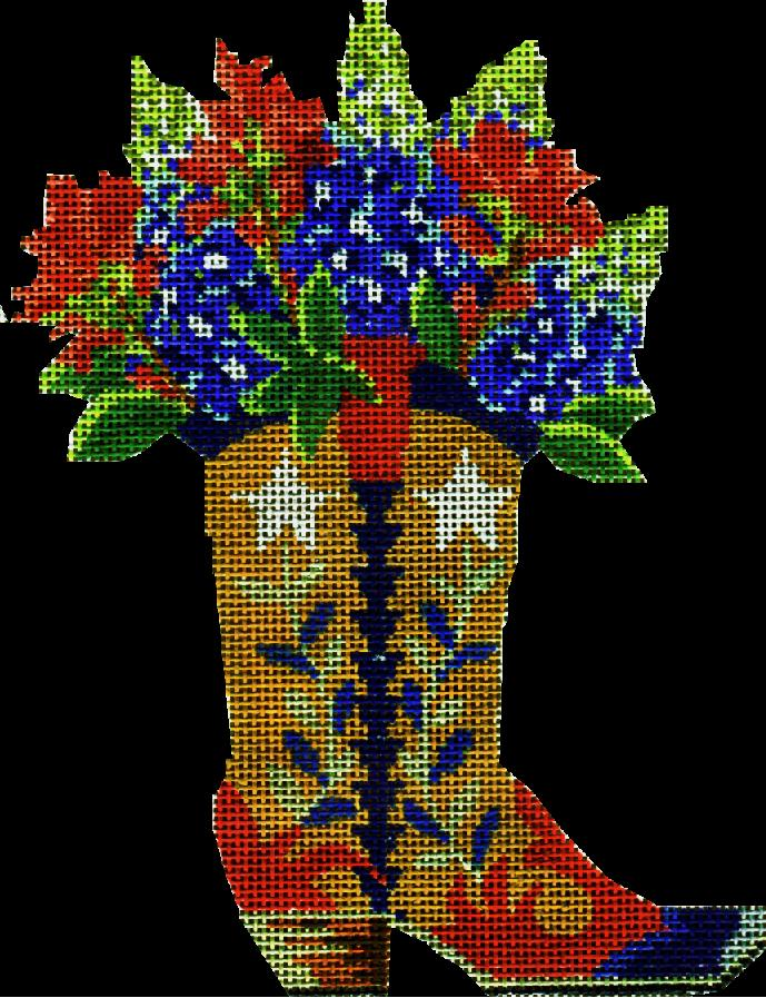 click here to view larger image of Boot with Bonnets and Indian Paintbrush (hand painted canvases)